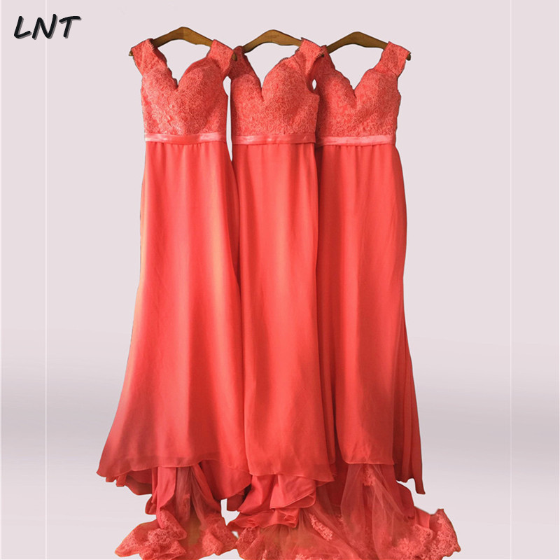 Off The Shoulder Coral Long Bridesmaid Dress With Appliques Elegant Formal Occasion Dress