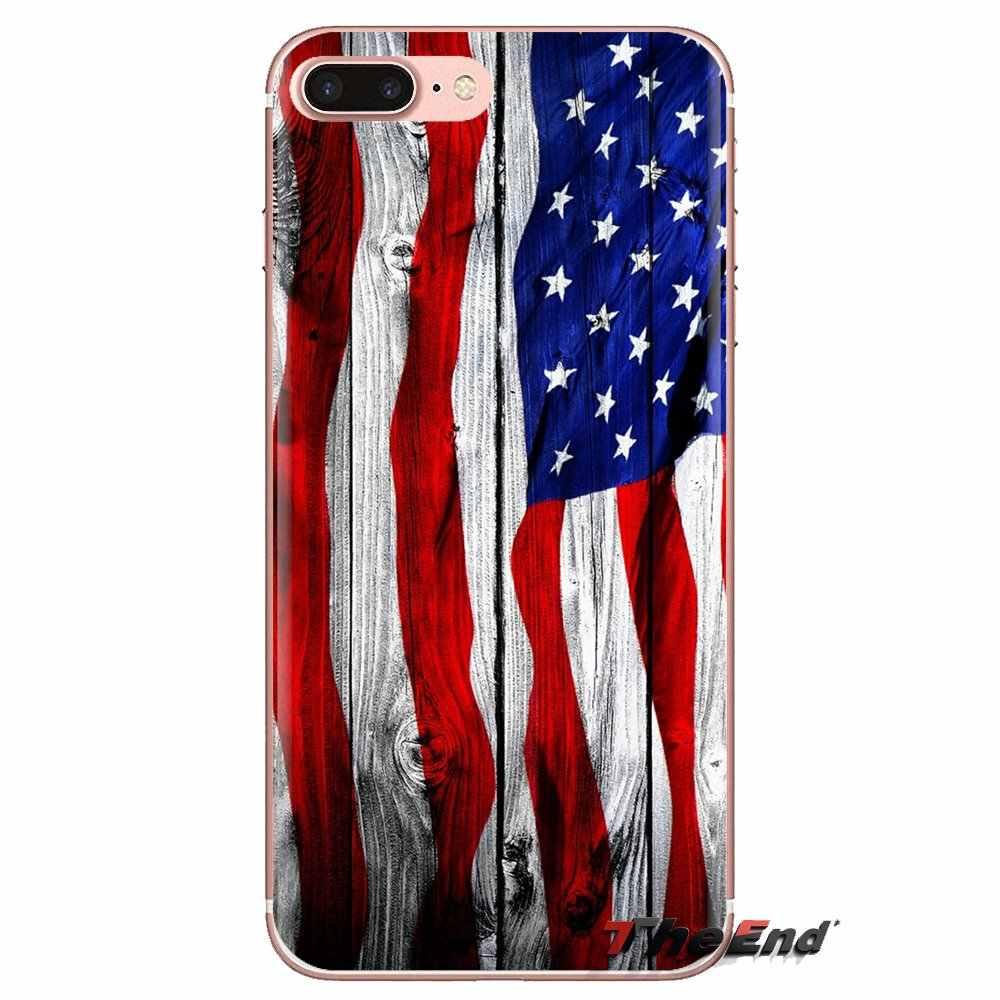 Bandera Americana de madera para Xiaomi Redmi 4A S2 nota 3S 3S 4 4X4 5X5 6 Plus 7 6A pro Pocophone F1 fundas transparentes suaves