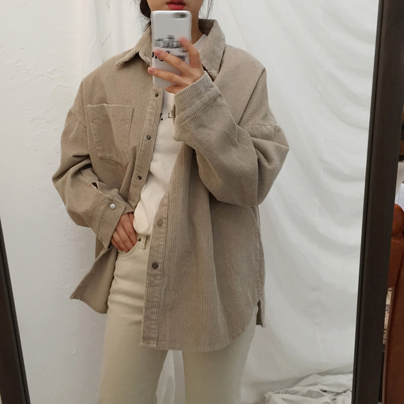 [EAM] Loose Fit Apricot Corduroy Big Size Jacket New Lapel Long Sleeve Women Coat Fashion Tide Spring Autumn 2020 1DA744 4