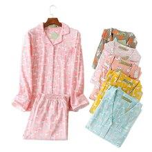 Conjunto de pijama de talla grande con dibujos animados para mujer, ropa de dormir de algodón cepillado, cálido e informal, de manga larga, 100%