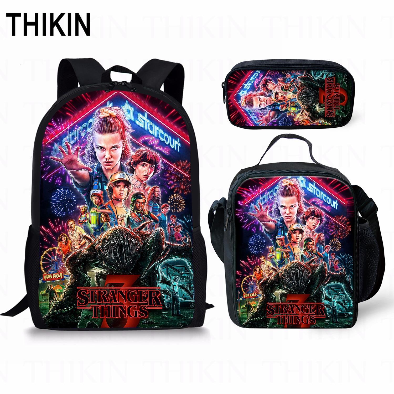 THIKIN Stranger Things 3 3pcs/set Backpack Back To School Backpack Gift Children Boys Girls School Bag For Teenage Travel Bags