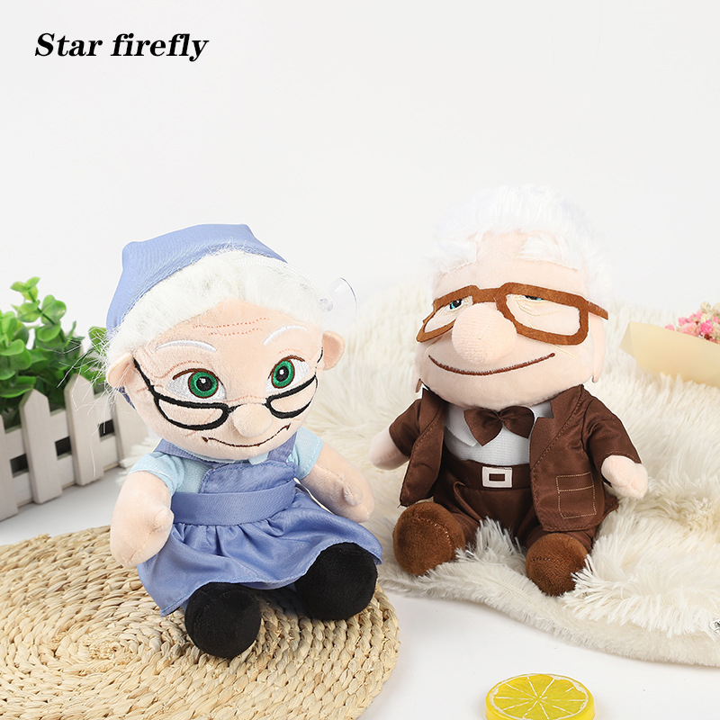 20cm Movie UP Character Plush Toy Flying Ring Travel Carl Old Lady Stuffed Plush Toys Oben Toy For Kids Gifts