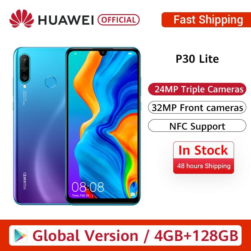 In Stock Global Version Huawei P30 Lite Smartphone Triple Cameras 4G 128G Kirin 710 32MP Front Camera 6.15'' Full Screen NFC