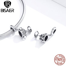 BISAER Cup Charms BISAER 925 Sterling Silver Trophy Prize Vintage Filigree Charms Beads for Bracelet Jewelry Making HSC1475 jules rimet trophy cup the world cup trophy champions trophy cup for soccer souvenirs award