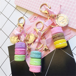 Resin Macaron Keychain Key Chain Women Macaroon Bag Charm France LADUREE Macarons Eiffel Tower Keychains anahtarlik llavero S133