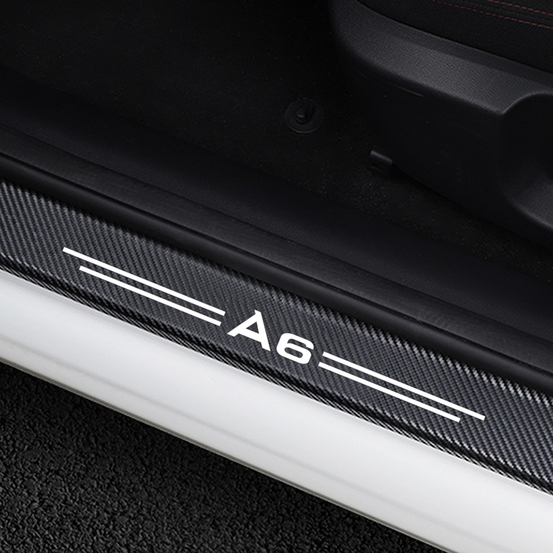 4Pcs 4D Carbon Fiber Style Auto Car Door Sill Threshold Sticker Anti-scratch B