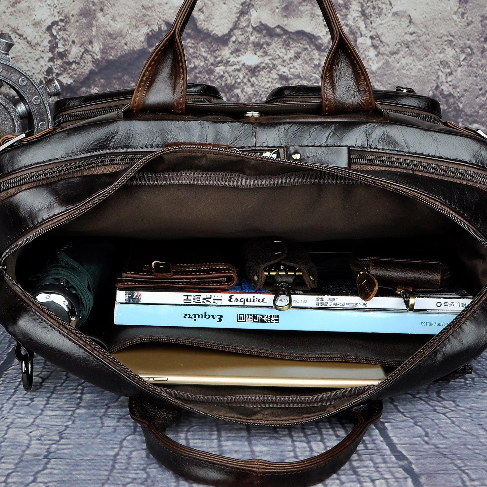 Véritable en cuir véritable mode mallette d'affaires Messenger sac mâle Design voyage ordinateur portable porte-documents fourre-tout portefeuille sac k1013c - 6