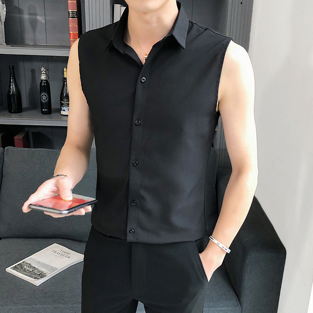 Summer Sleeveless Shirt Men Fashion 2020 Slim Fit Mens Casual Shirts Comfortable All Match Thin Men Shirt Dress