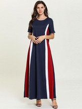 2019 Summer Womens Dress Loose Large Size Fashion Contrast Stitching Short Sleeve Arabian Ladies Robe