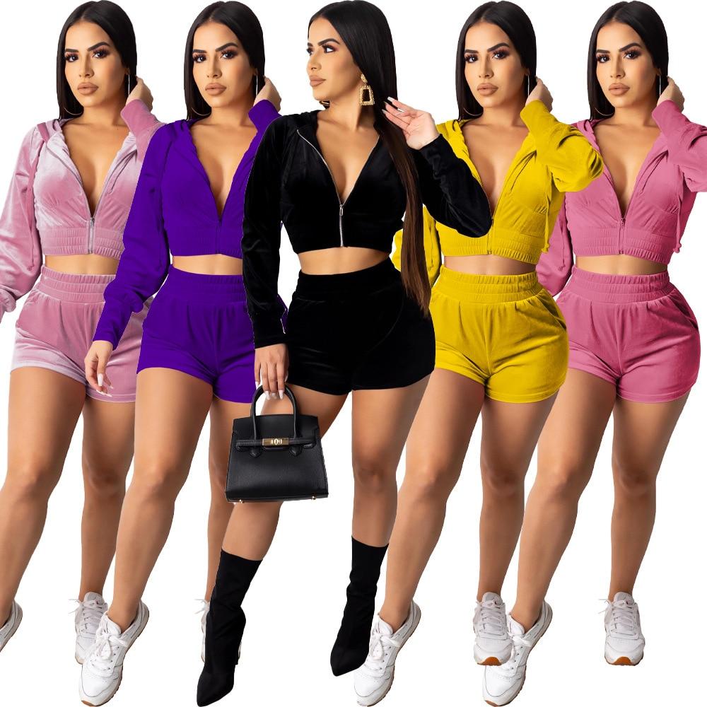 Zoctuo сплошной бархат два кусок наборы для женщин молнии с капюшоном брюки наборы для женщин с длинным рукавом осень повседневные шорты два кусок набор