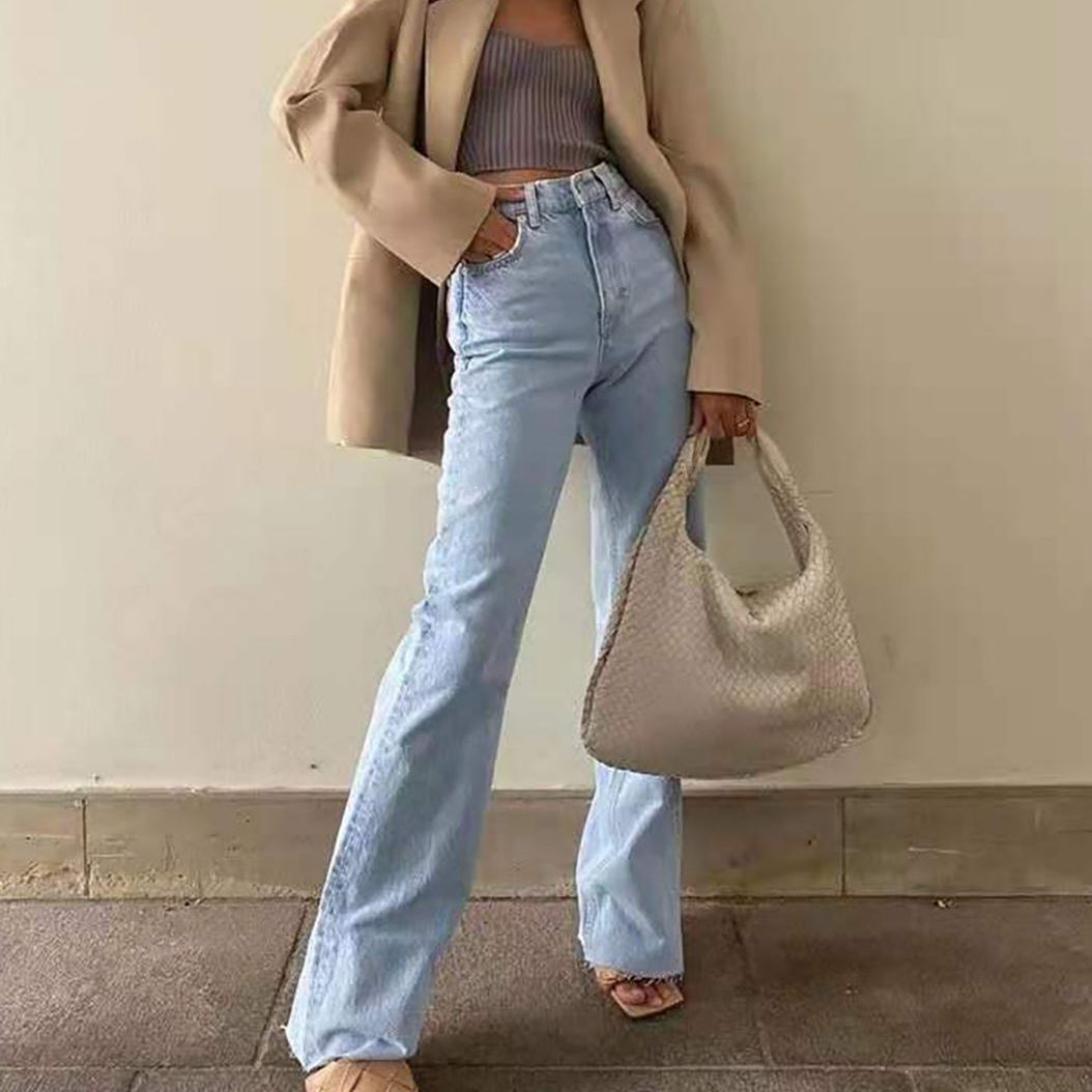 2021 urban casual fashion versatile high-waist slimming new women's trousers with rough edges design wide-leg jeans