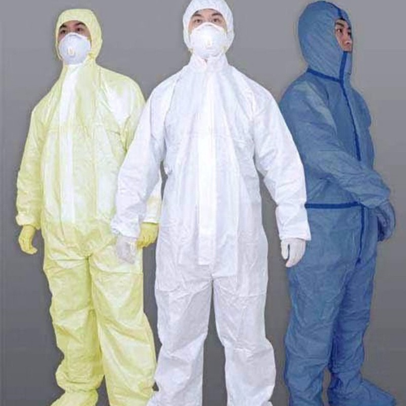 Disposable Protective Clothing SMS Non-Woven Siamese Waterproof Oilproof Dustproof Protective For Spray Clothes Isolate Overalls