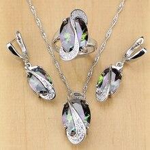 ナチュラルミスティック虹キュービックジルコニアシルバー 925 ジュエリーセット女性の結婚式のイヤリング/ペンダント/ネックレス/リングjewelry sets for womensilver jewelry setsterling silver jewelry set
