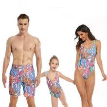 Parent-child Swimsuit Tropical Cactus Print One-piece Swimsuit Family Look kids tropical print swimsuit
