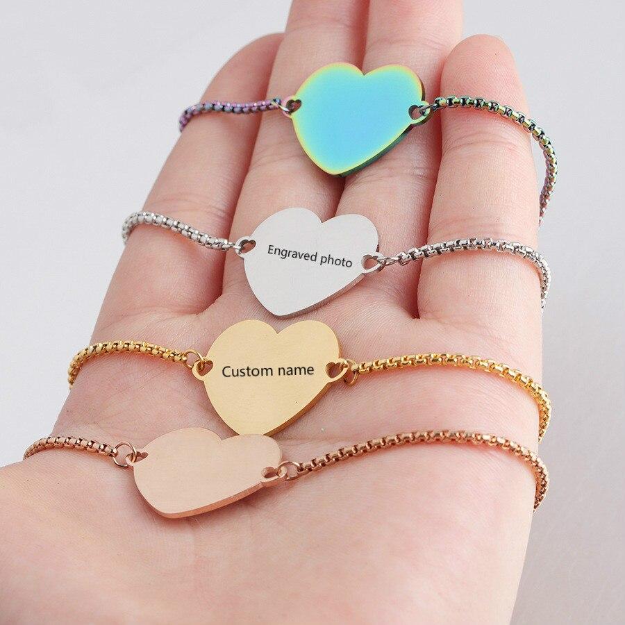 Pulseras personalizadas grabadas con foto Nombre Fecha pulsera de acero inoxidable ajustable identificación etiqueta pulsera para regalo de mujer