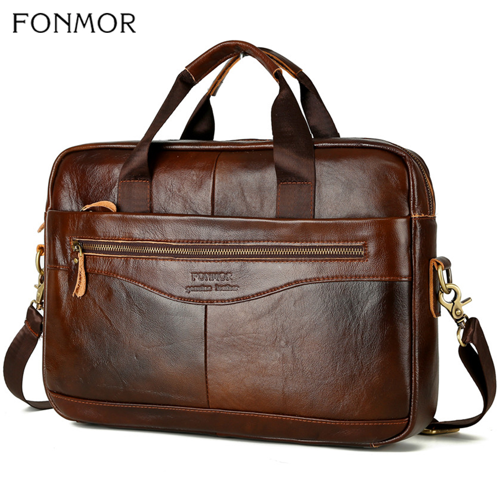 Fonmor Men Briefcase Laptop-Bag Crossbody-Bag Handbags-Cowhide Brown Travel Genuine-Leather Business Large-Capacity Shoulder-Bag
