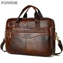 Fonmor Men Briefcase Laptop Bag Crossbody Bag Handbags Cowhide Brown Travel Genuine Leather Business Large Capacity Shoulder Bag