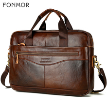 Fonmor mężczyźni teczki na laptopa torba Crossbody torba torebki skóry wołowej brązowy podróży prawdziwej skóry skórzany biznes duża  na ramię o dużej pojemności torba