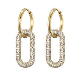 LOVBEAFAS New Round Stainless Steel Hoop Earrings Zirconia Gold Color Copper Oval Rectangle Earrings for Women 2020 Pendientes