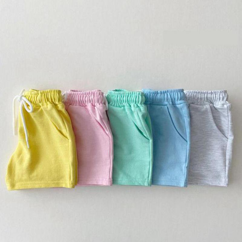 2021 Summer New Children Shorts Girls Candy Colors Shorts Baby Boy Lace-up Pants Cotton Toddler Pp Shorts