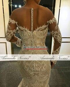 Image 4 - Kapalı omuz uzun dantel kollu mermaid düğün elbisesi 2020 özel sipariş gelin elbise