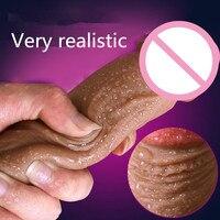 CPWD suave gran Consolador de silicona realista ventosa dildo pene masculino artificial Dick masturbador para mujeres  Juguetes sexuales para mujeres
