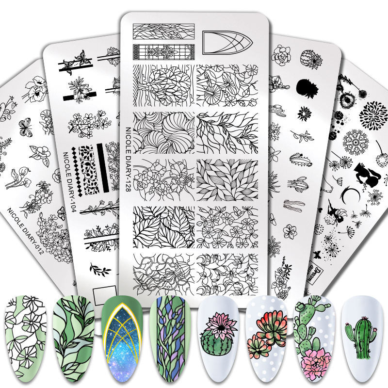 NICOLE DIARY Nail Stamping Plates Template Cactus Flower Festival Geometric Print Image Nail Designs Nail Art Plate