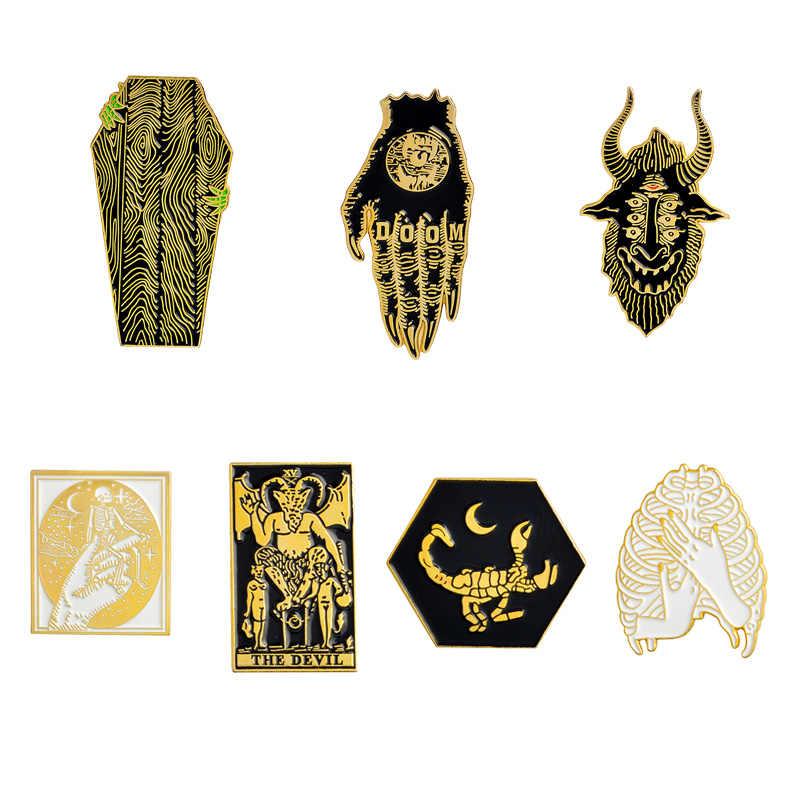 פאנק פין ידיים של אבדון שטן ארון עז שד דש תגי סיכת שלד אמייל סיכות סיכות אימה תכשיטי גותי מתנות