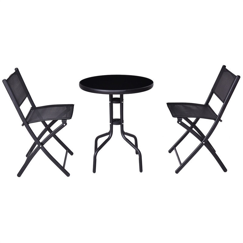 3 Pcs Outdoor Folding Bistro Table Chairs Set Minimalist Modern Patio Furniture Sturdy Round Table Folding Armless Chair  OP3371