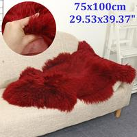 Red Sheepskin Faux Fur Carpets Rugs For Home Bedroom Kids Living Room Chair Warm High Quality Non slip Plush Mat