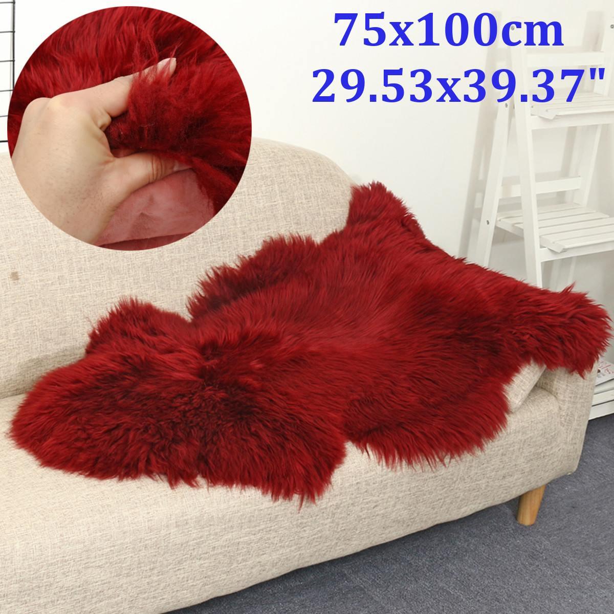 Tapis en peau de mouton rouge en fausse fourrure tapis pour la maison chambre enfants chaise de salon chaud de haute qualité tapis en peluche antidérapant