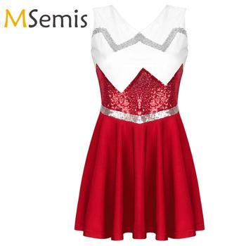 Womens Grils Cheerleader Costume Fancy Dress V Neck Sleeveless Shiny Sequins Flared Short Dress Carnival Cheerleading Uniform