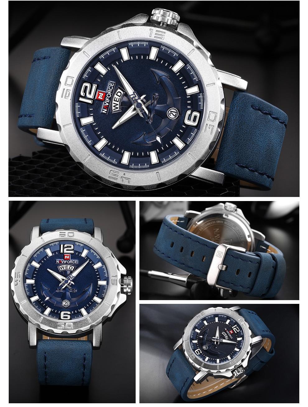 Hc7ed28e460824069bccca06eb51f5f9aL Top Luxury Brand NAVIFORCE Mens Sport Watches Casual Leather Strap Waterproof Military Quartz WristWatch Clock Male Reloj Hombre