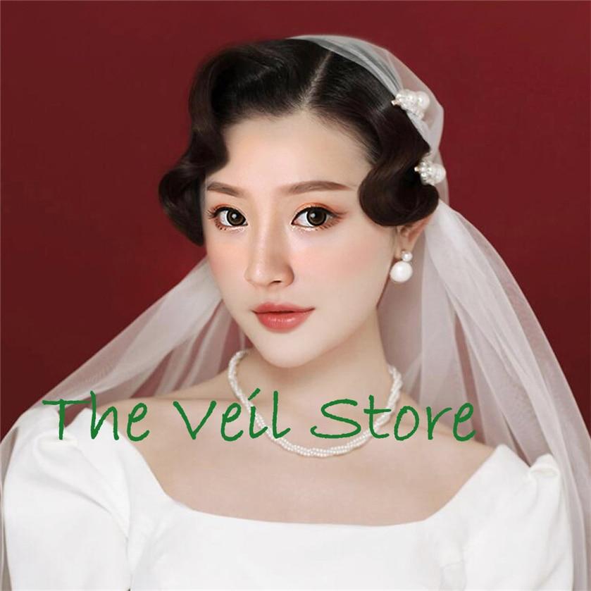 Vintage Juliet Cap Bridal Vedding Veil White Ivory Tulle Veil For Brides Hair Clip Pearl 2 Layers Velo De Negra Voile De Mariage