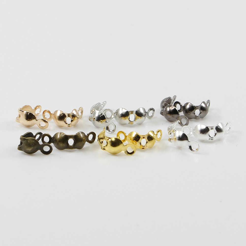 200 Uds. De Oro/plata cuentas prensadas conector de cadenas de bolitas cierre final 4x7mm DIY collar accesorios de joyería para brazalete