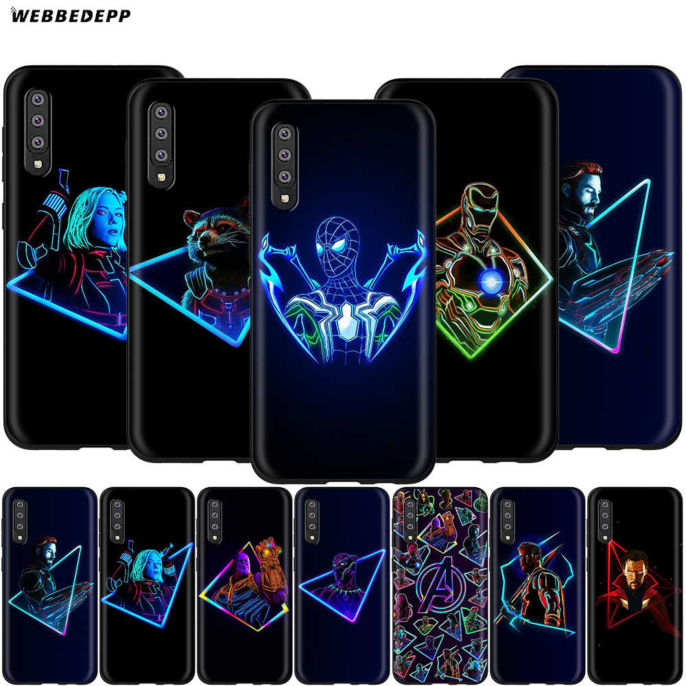 Super-heróis Da Marvel Avengers Case for Samsung Galaxy S7 S8 Webbedepp S9 S10 Plus Nota Borda 10 8 9 A10 A20 A30 A40 A50 A60 A70