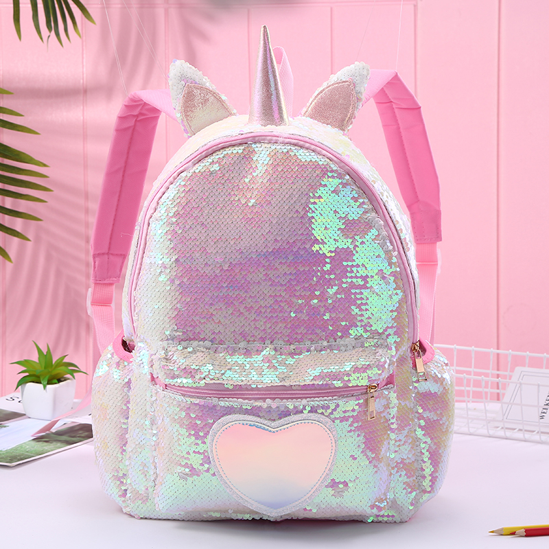 Girl Sequin Mermaid Backpack Children Large Zipper Unicorn Schoolbag Teenager Hologram Heart Love Backpack For School Travel Bag