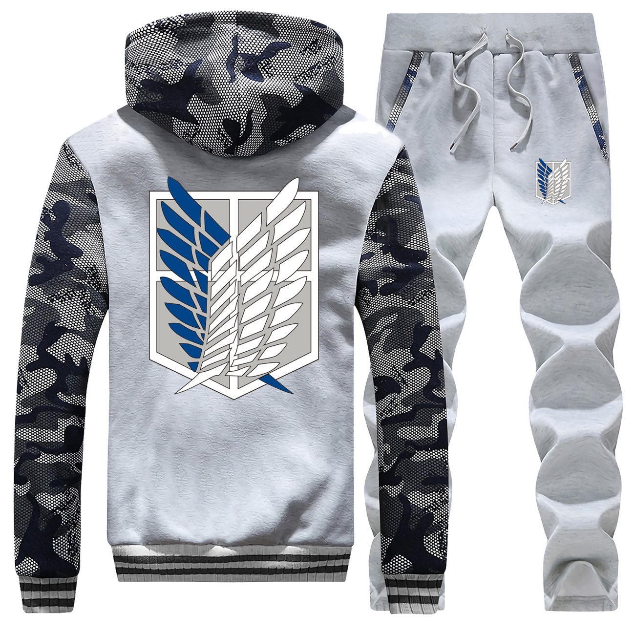 Winter 2019 New Hoodie Attack On Titan Japan Anime Mens Camouflage Coat Thick Fashion Streetwear Suit Jackets+Pants 2 Piece Set