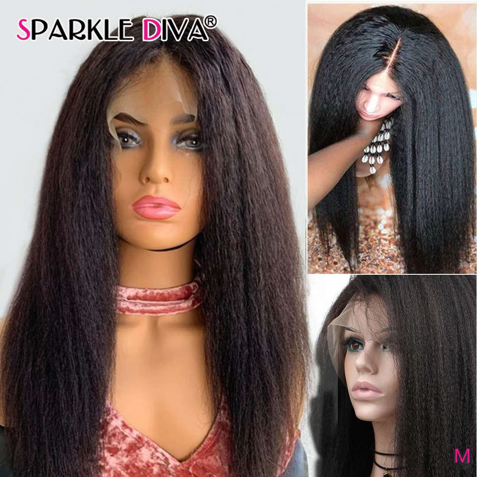 Kinky Straight Human Hair Wigs Brazilian 13*1 Lace Part Wig 5 Inch Deep Part Lace  Remy Hair Wig 150% Den Lace Wigs For Women