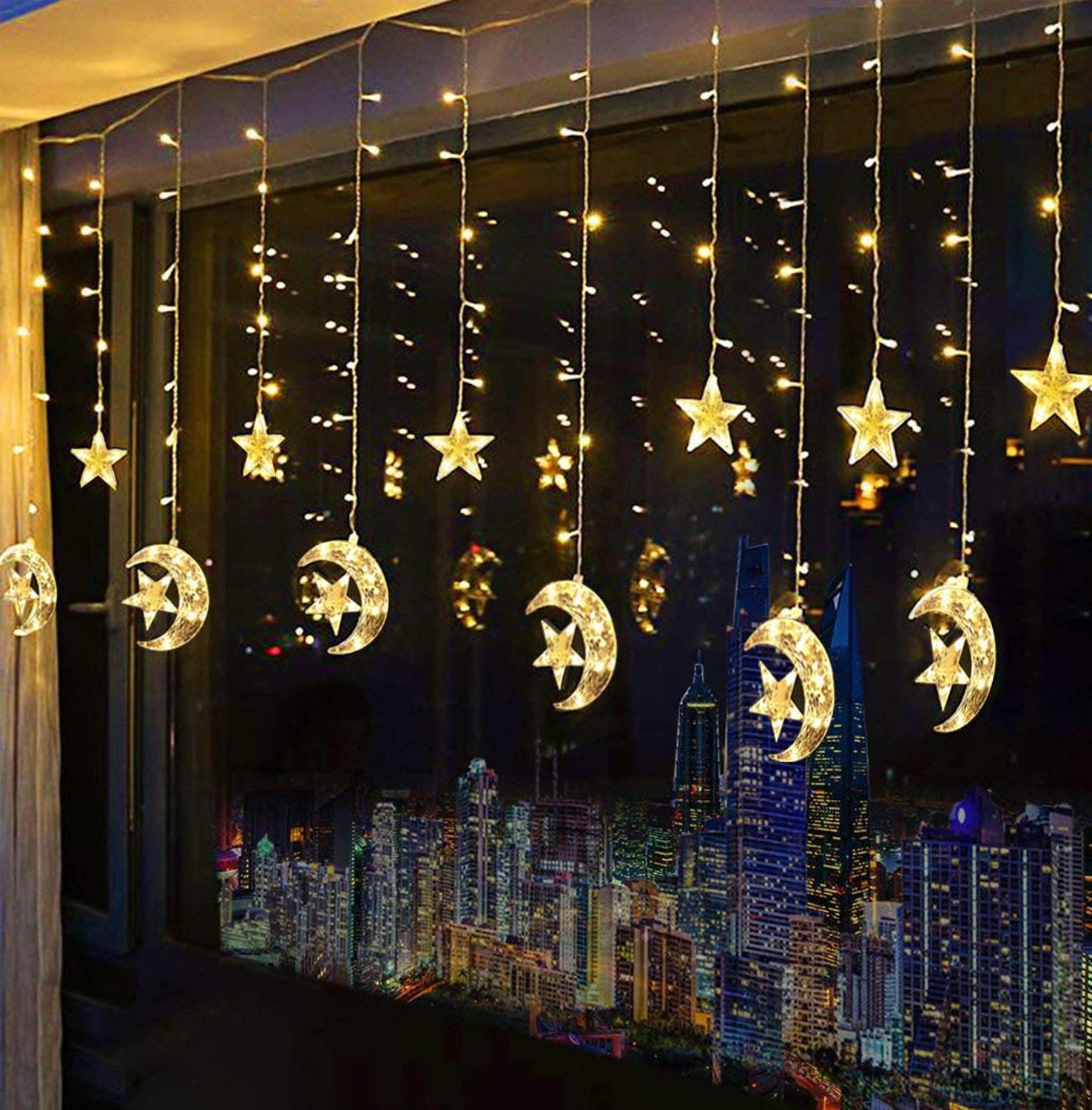 Battery Operated 2.5M 138leds Moon Star Curtain String Lights Ramadan Decorations Garland Lamp For Christmas Party Wedding
