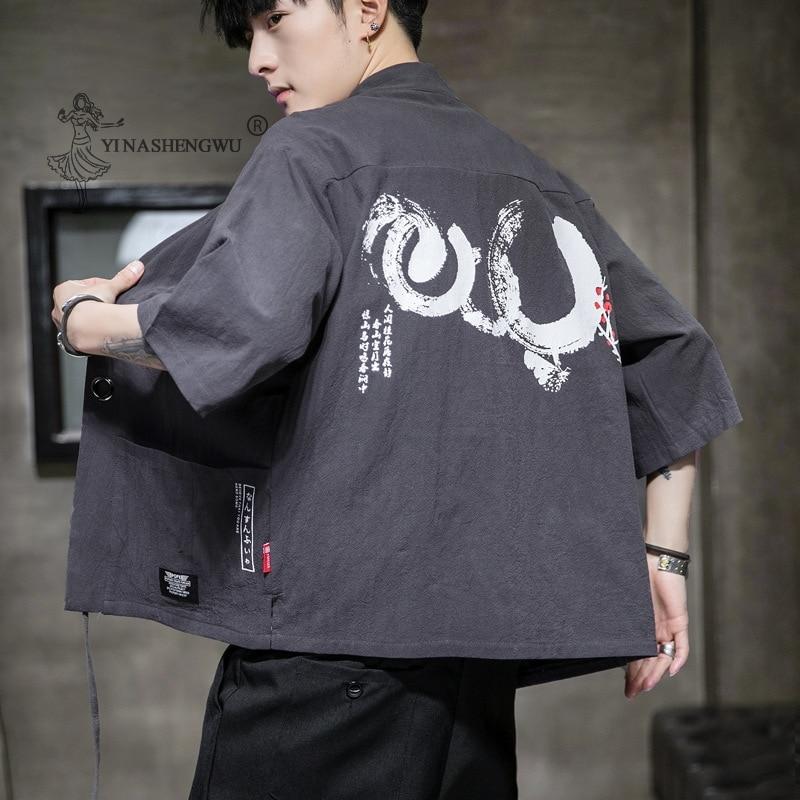 Kimono Samurai Embroidery Japanese Costume Men Harajuku Style Shirt Japan Print Yukata Coat Chinese Traditional Haori Cardigan