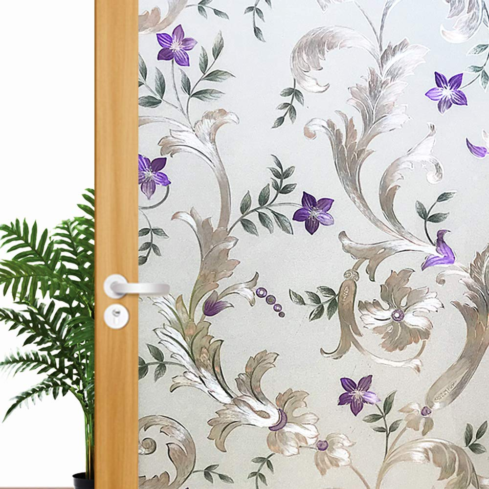 Funlife Bullflower Decorative Window Film,Privacy Door Film,Static Cling Glass Film,No Glue Anti UV Self-adhesive Sticker