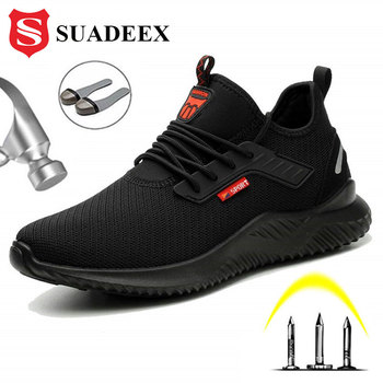 SUADEEX Safety Anti-Smashing Shoes Steel Toe Work Shoes Puncture Proof Men Indestructible Safety Boots Breathable Work Sneakers suadeex steel toe boots for men military work boots indestructible work shoes desert combat safety boots army safety shoes