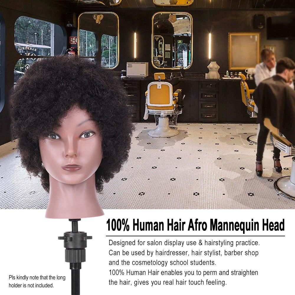 Tête de Mannequin Afro tête d'entraînement de coiffure pour la pratique de tressage tête factice afro-américaine avec 100% cheveux humains