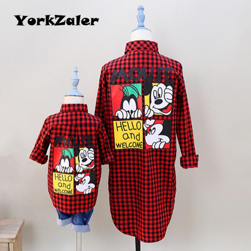 YorkZaler Family Matching Clothes Mother Daughter Son Outfits Summer Autumn Mom Baby Kid Red Plaid Shirt Family Look