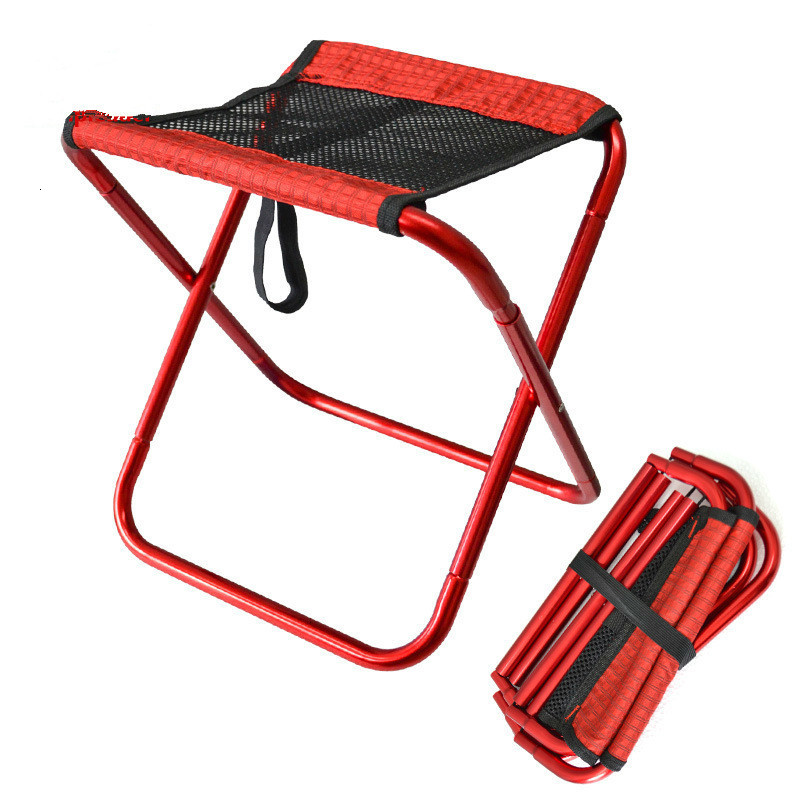 Outdoor Foldable Fishing Beach Chair Ultralight Portable Folding Camp Sillas Aluminum Picnic Red Chairs Garden Furniture Stool