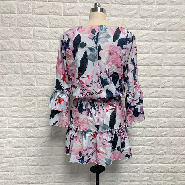 New Boho Print Holiday Mini Dress Women Autumn V Neck Lace up Ruffle Flaral Sleeve Woman Dresses 2020Casual Beach Vestidos Mujer 6