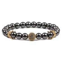 Золотая Корона мужские браслеты Healthing гематит бусины браслет для женщин мужские ювелирные изделия Очаровательный натуральный камень браслеты