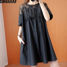 DIMANAF Plus Size Summer Blouse Shirt Women Clothing Lace Floral Spliced Elegant Sexy Lady Tops Tunic Loose Shirt Dress Big Size