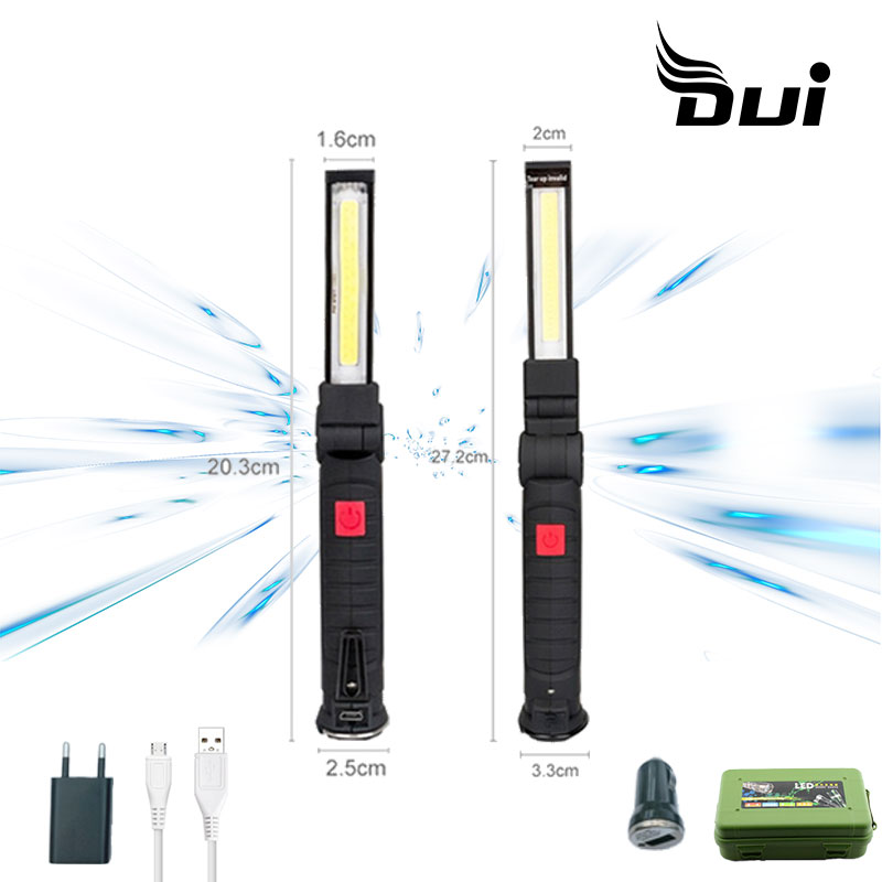 DUI 360 Folding USB Rechargeable Working Repair Led Lamp Red Portable Camping Led Flashlight Torch